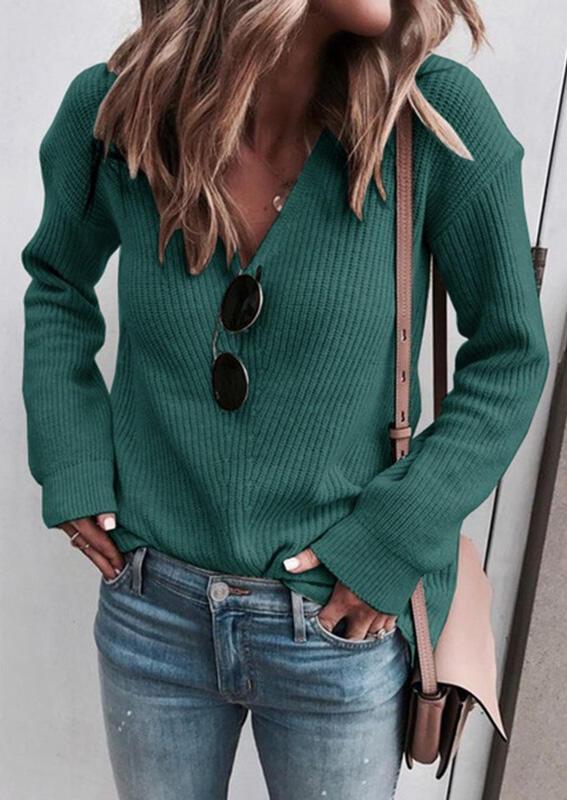 セーター Vネックニットセーターなネックレス-グリーン。 サイズ:S、M、L、XL