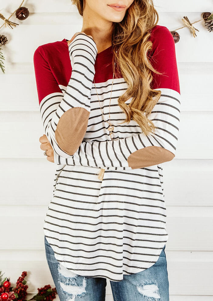 Striped Splicing Elbow Patch T-Shirt Tee without Necklace – Red
