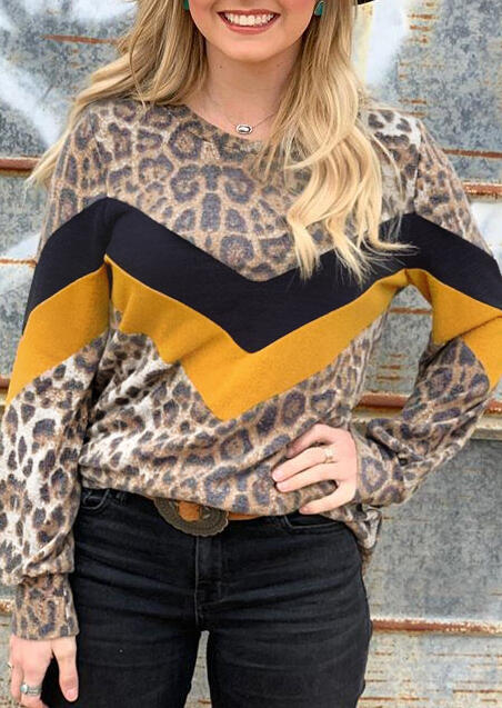 Leopard Printed Color Block Splicing T-Shirt Tee without Necklace