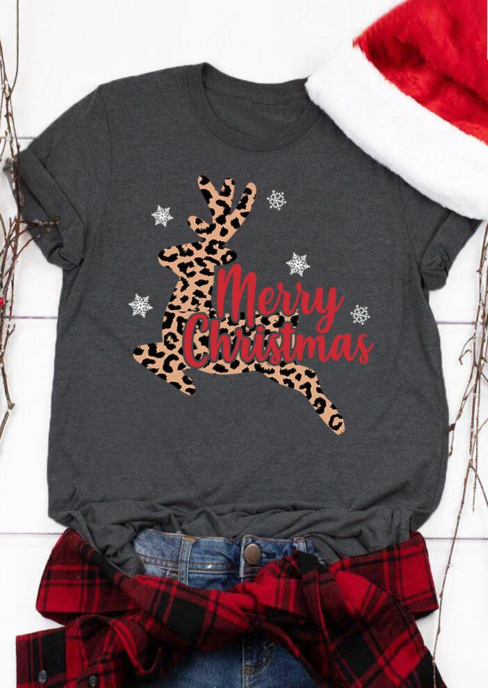 Merry Christmas Leopard Printed Reindeer T-Shirt Tee – Gray