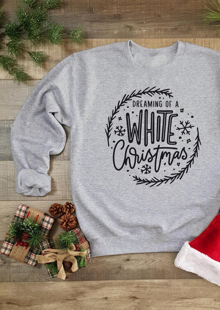 FairySeason / Dreaming Of A White Christmas Sweatshirt- Light Grey
