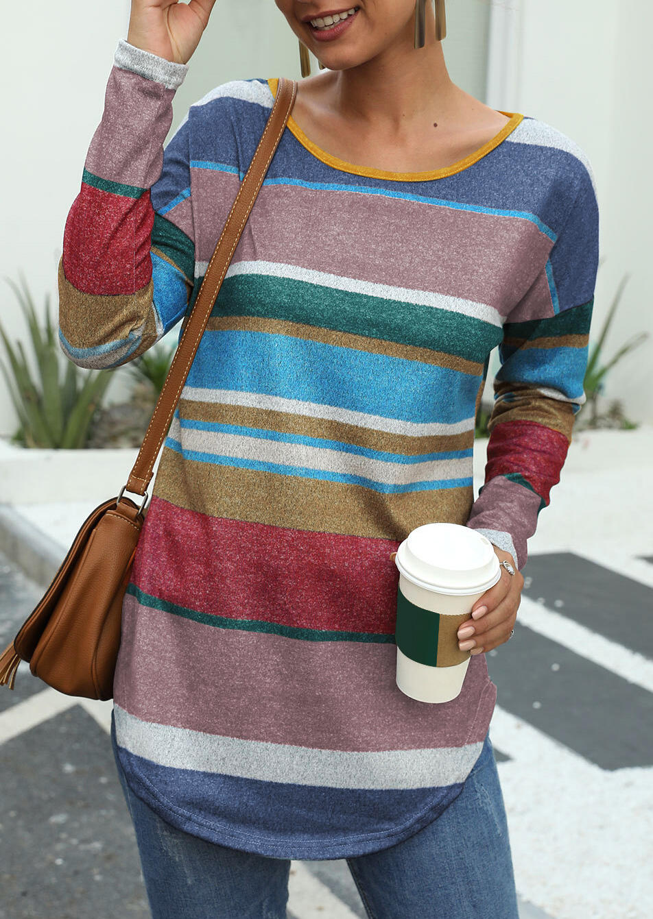 Colorful Striped Long Sleeve Blouse – Burgundy