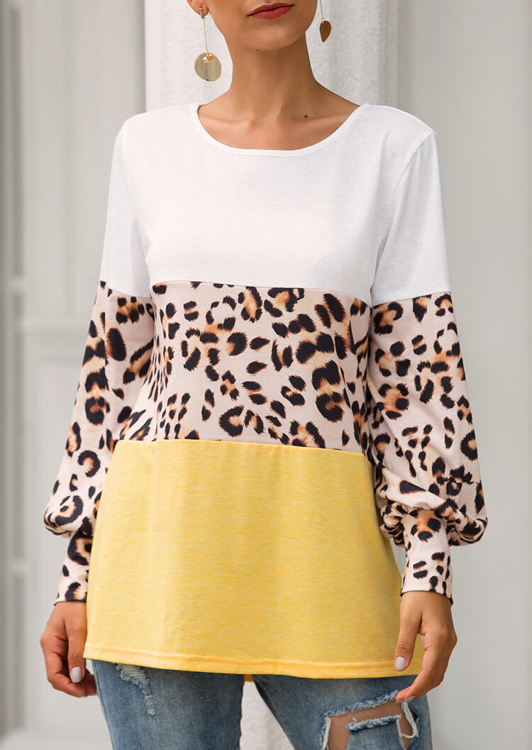 Color Block Leopard Printed Splicing Blouse – Yellow