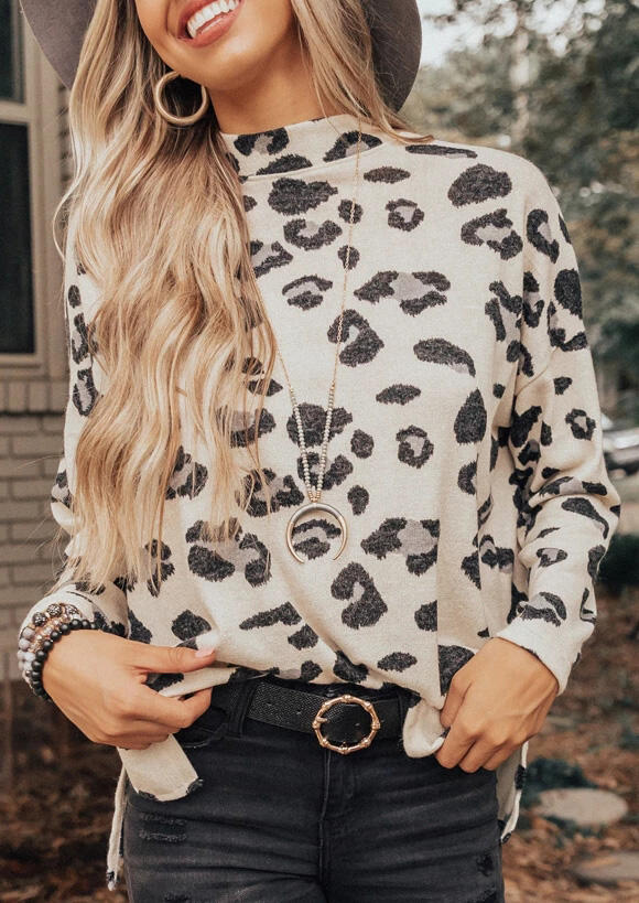 Leopard Printed Slit Blouse without Necklace