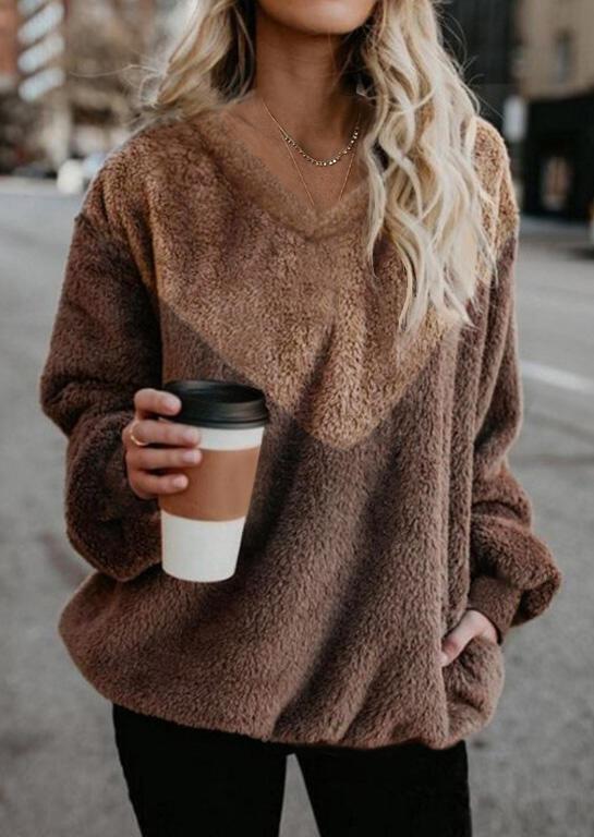 Color Block Plush Blouse without Necklace – Brown