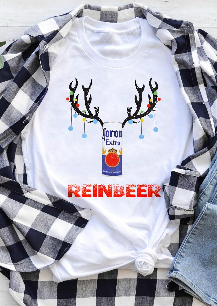 Corona Extra Reinbeer O-Neck T-Shirt Tee – White