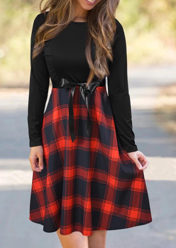 Mini Dresses Plaid Printed Splicing Zipper Mini Dress. Size: S,M,L,XL фото