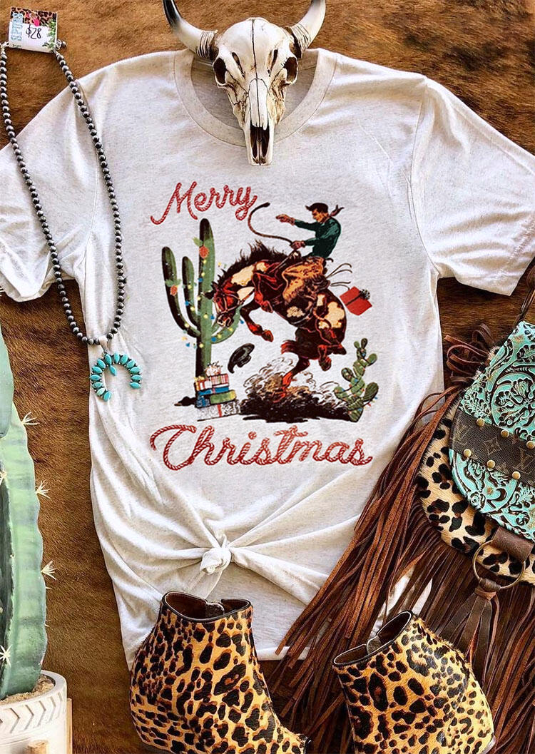 Merry Christmas Cactus Cowboy T-Shirt Tee – Gray