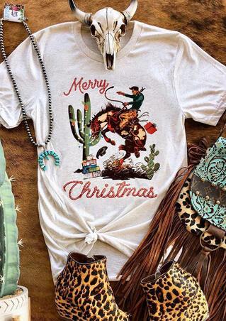 Merry Christmas Cactus Cowboy T-Shirt Tee - Gray