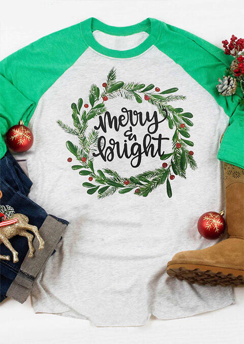 Merry & Bright O-Neck T-Shirt Tee – Light Grey