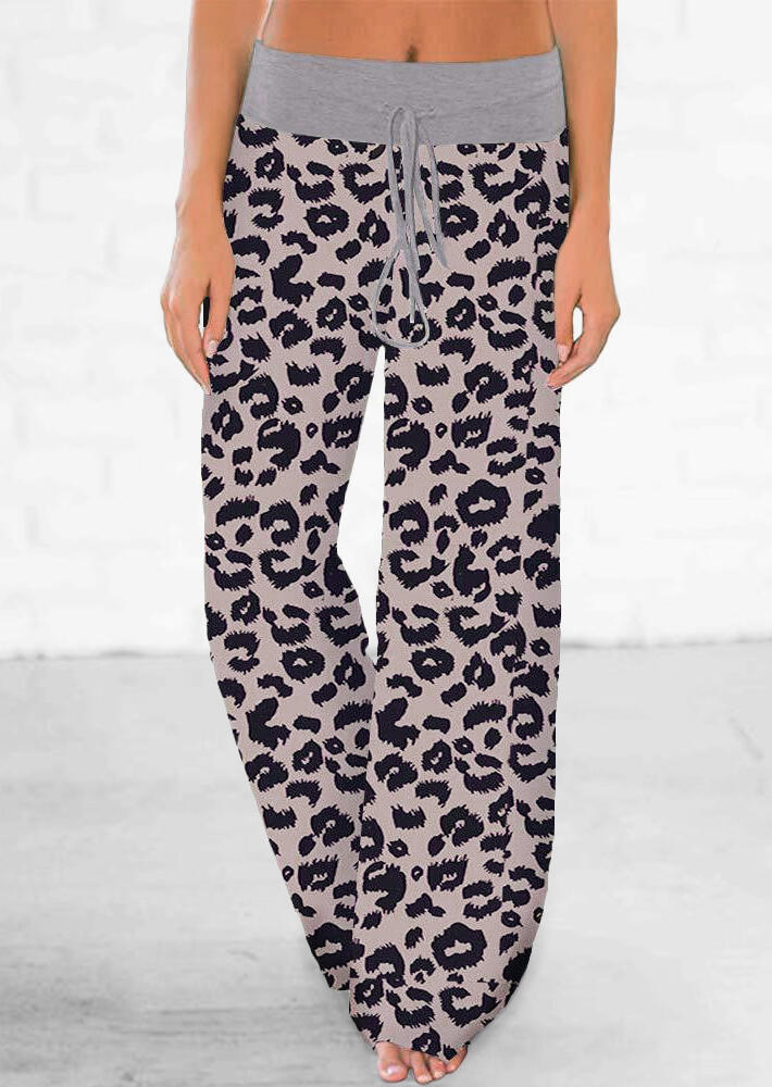 Pants Leopard Printed Drawstring Wide Leg Pants in Leopard. Size: S,M,L,XL фото