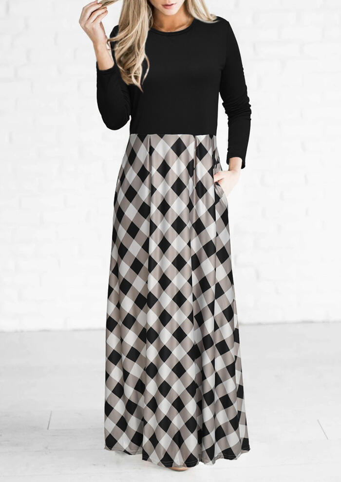 Plaid Pocket Long Sleeve Maxi Dress – Black