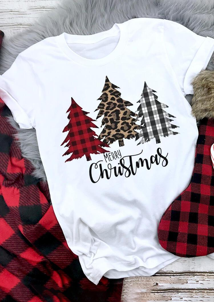 Merry Christmas Plaid Leopard Printed Tree T Shirt Tee White Fairyseason