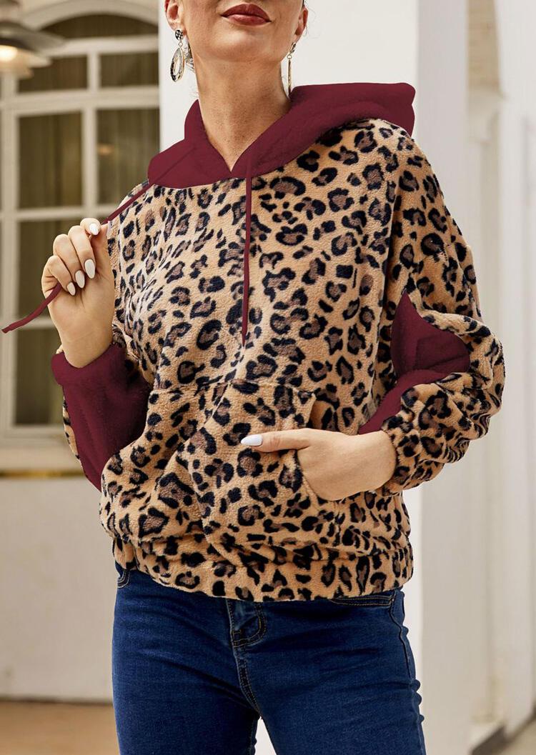 Leopard Printed Splicing Kangaroo Pocket Drawstring Hoodie