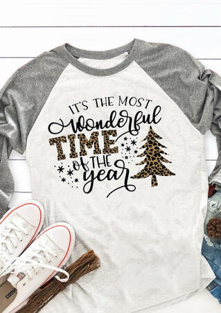 Christmas Wonderful Time Of The Year T-Shirt Tee - Light Grey
