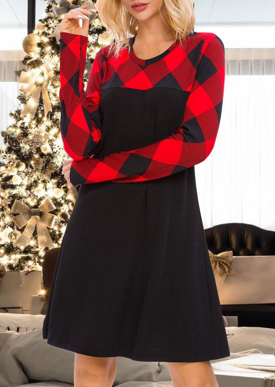 Plaid Splicing Long Sleeve Mini Dress фото