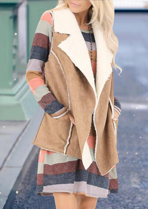 Solid Suede Plush Pocket Vest Coat – Khaki