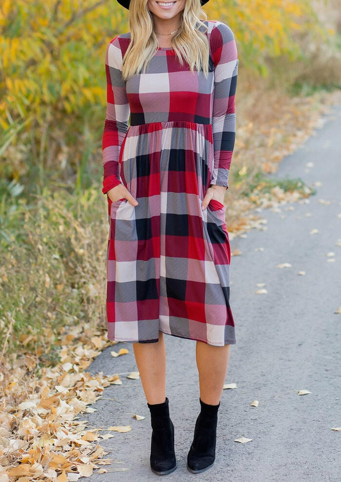 Plaid Splicing O-Neck Pocket Casual Dress without Necklace - Red фото