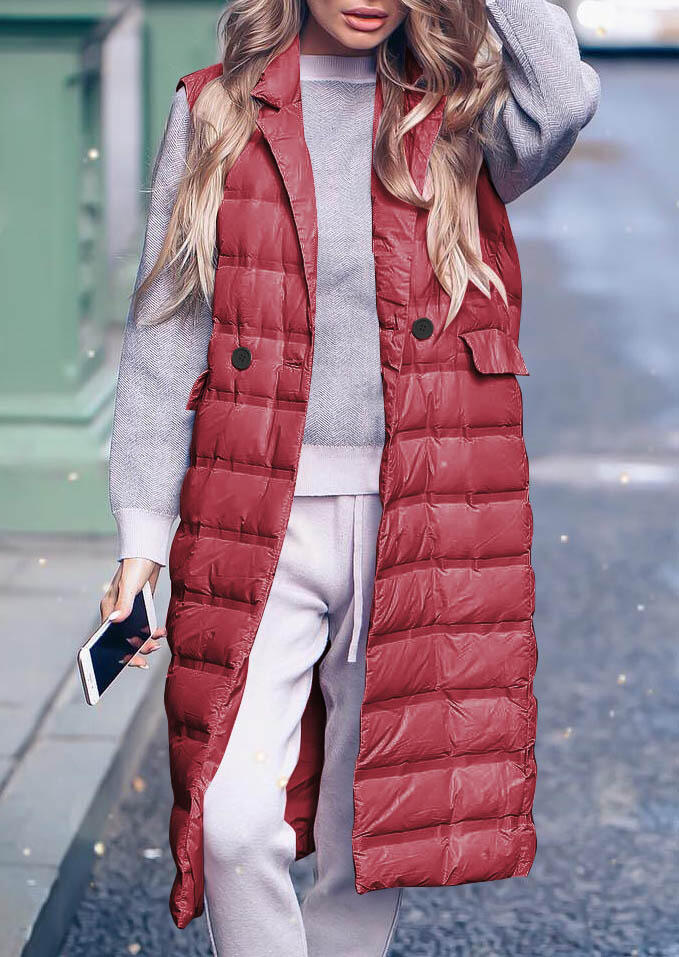 Solid Button Pocket Sleeveless Padded Vest Coat with Polyfill – Red
