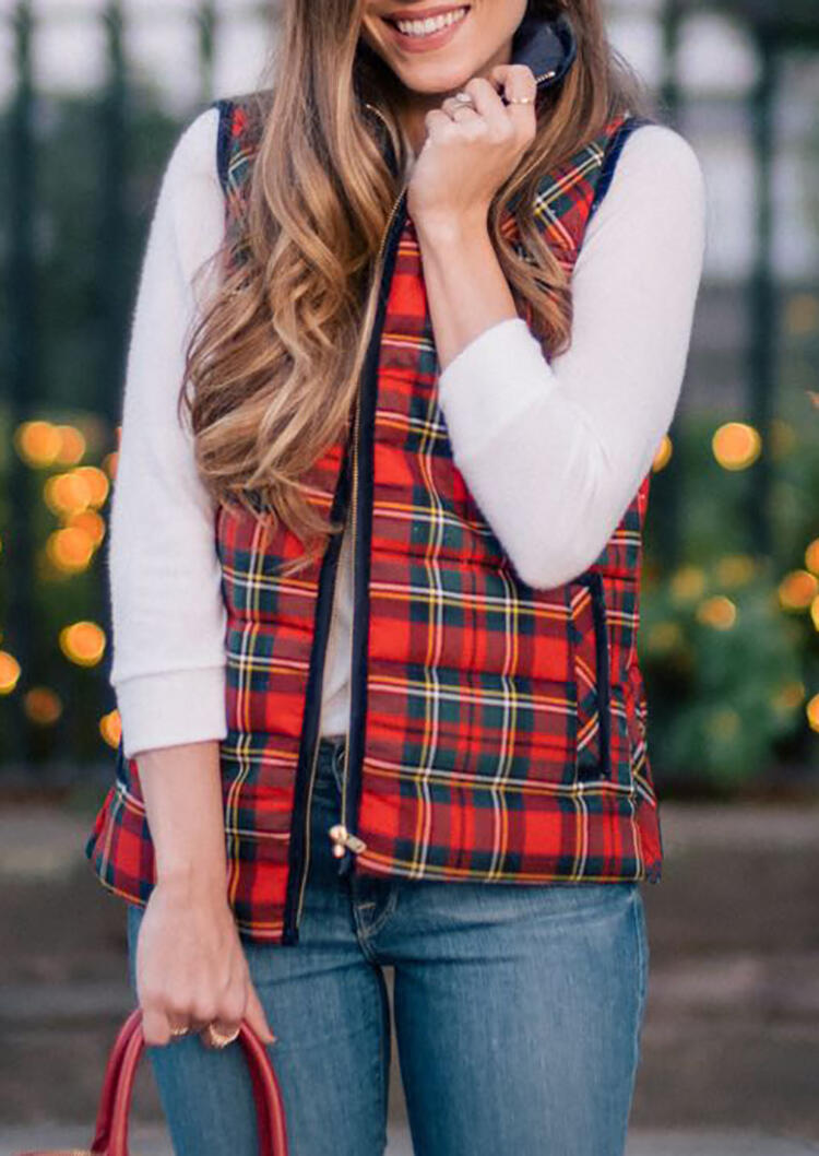Coats Plaid Printed Zipper Pocket Thickened Vest Coat in Red. Size: S,M фото