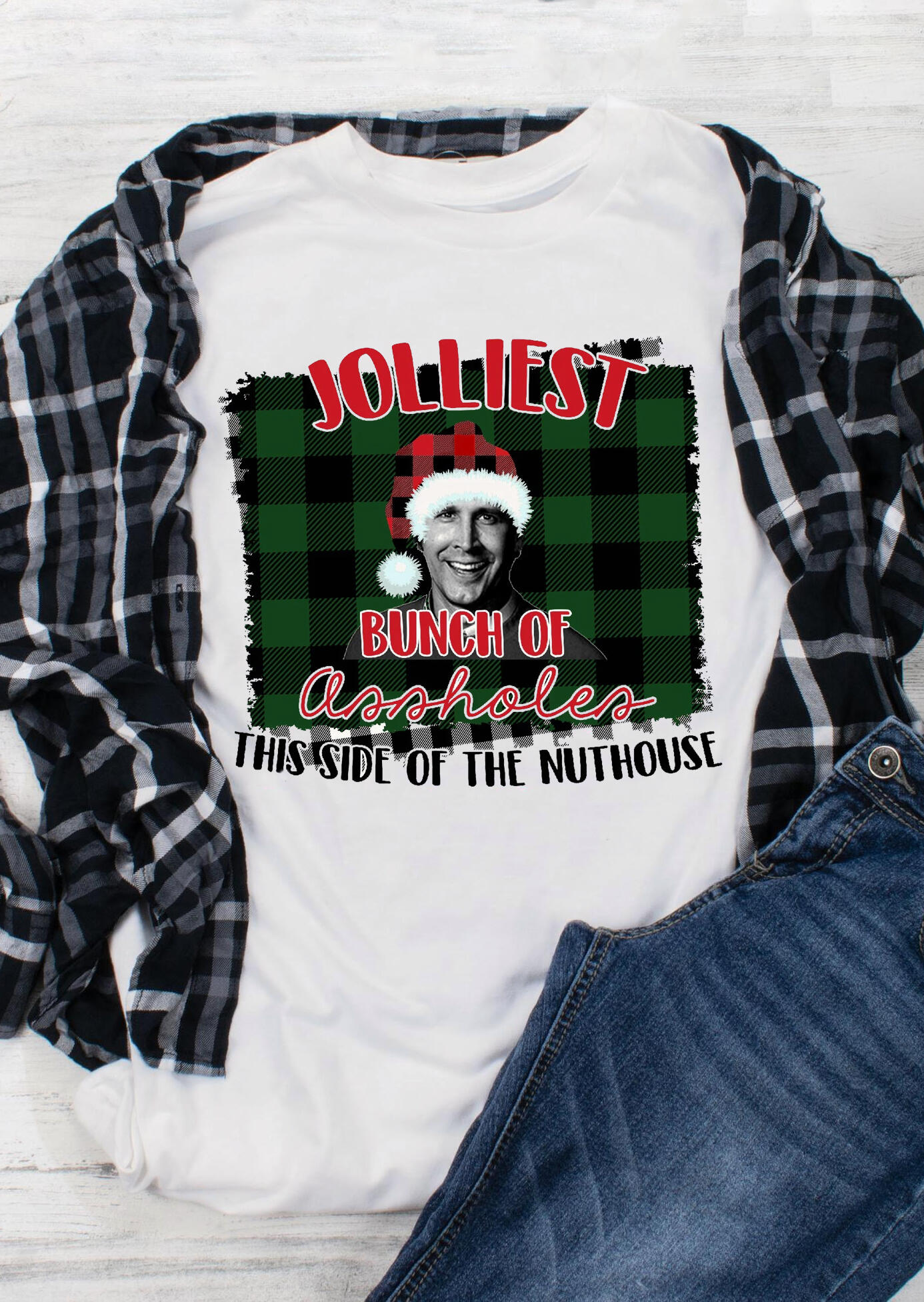 Jolliest Bunch Of Assholes Plaid Printed Christmas T-Shirt Tee - White, 460182