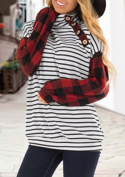 Plaid Striped Printed Splicing Button Blouse