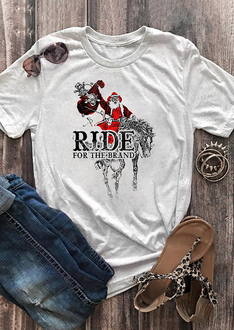 Santa Claus Ride For The Brand T-Shirt Tee - Gray фото