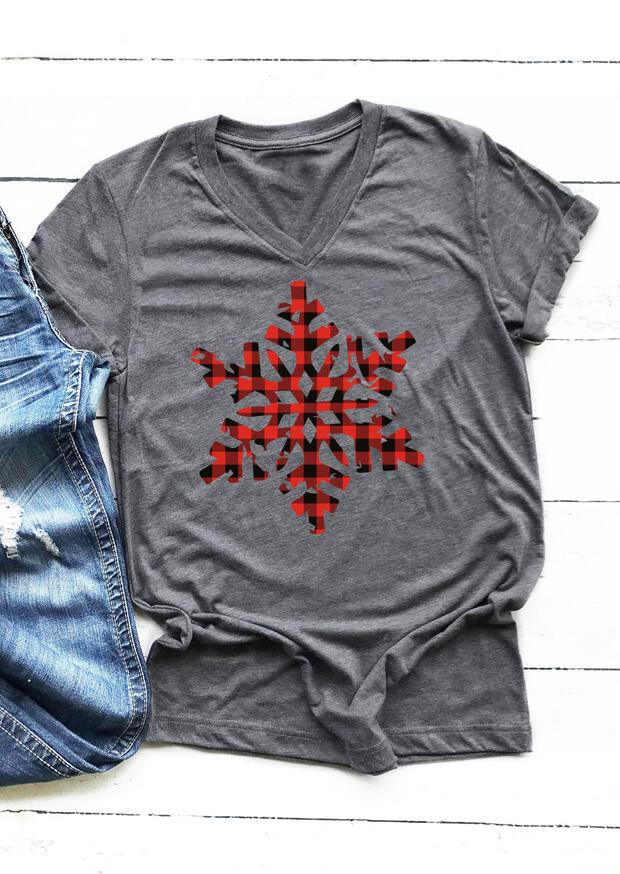 Plaid Snowflake V-Neck T-Shirt Tee – Gray