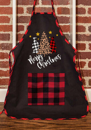 Merry Christmas Plaid Leopard Printed Tree Pocket Apron