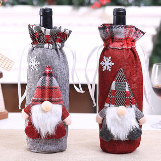 Plaid Santa Claus Drawstring Wine Bottle Cover