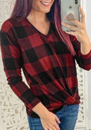 Plaid Splicing V-Neck Twist Blouse - Red