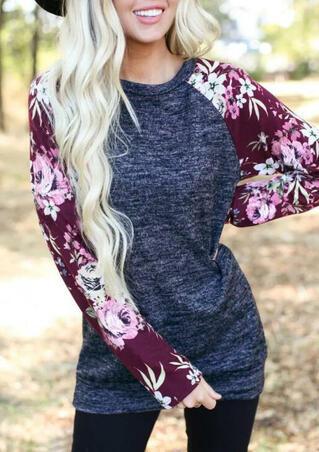 Floral Long Sleeve T-Shirt Tee - Navy Blue