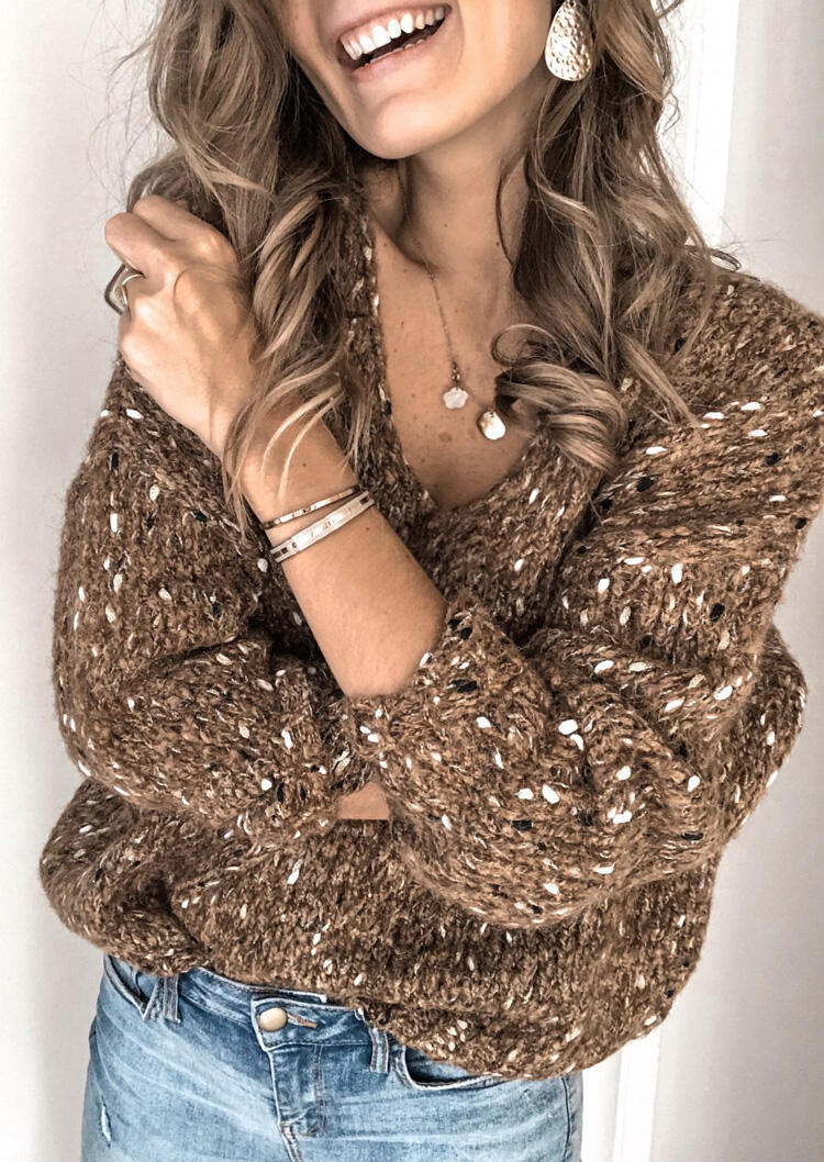 Multicolor Long Sleeve V-Neck Sweater without Necklace – Brown