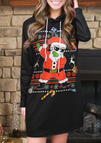 Santa Claus Long Sleeve Drawstring Hooded Mini Dress – Black