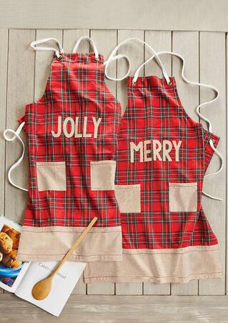 Jolly Merry Plaid Pocket Apron