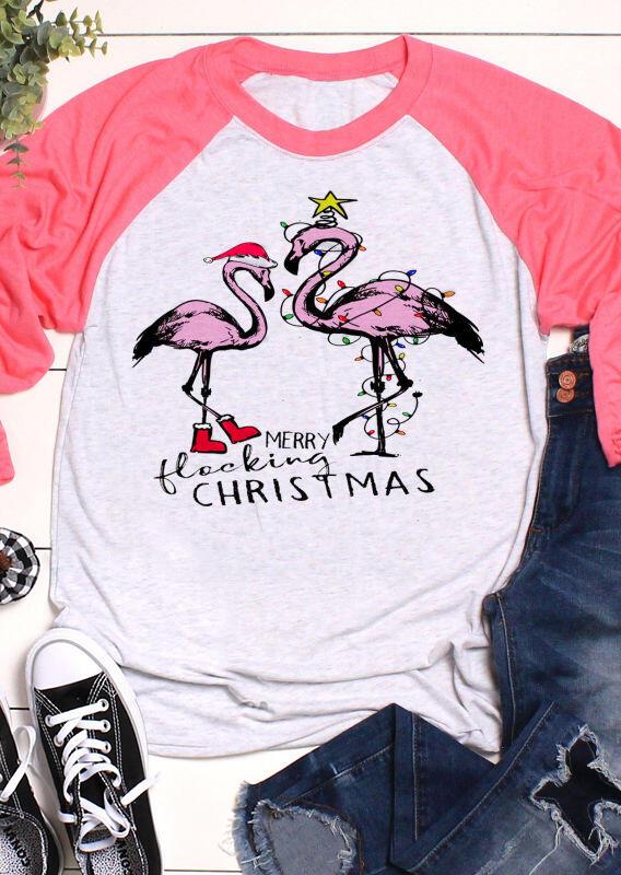 Flamingo Merry Flocking Christmas T-Shirt Tee – Pink