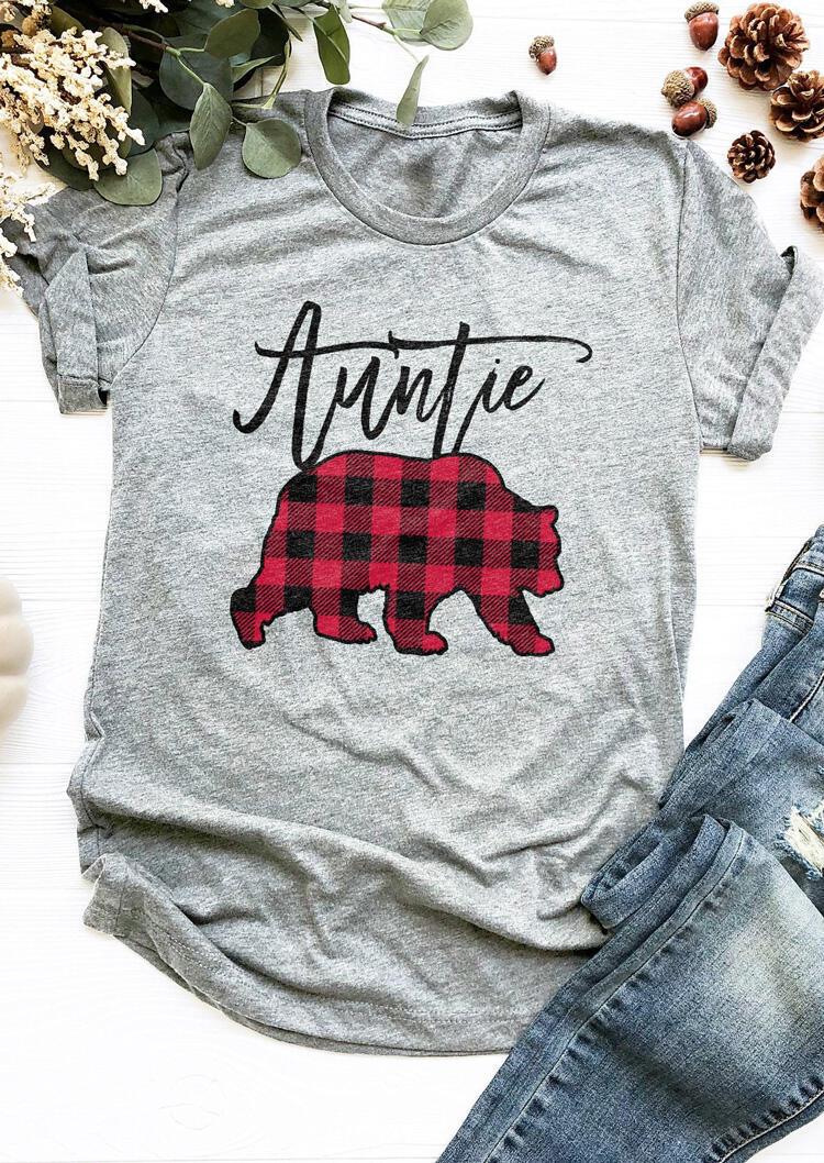 Auntie Bear Plaid Printed Splicing T-Shirt Tee – Gray