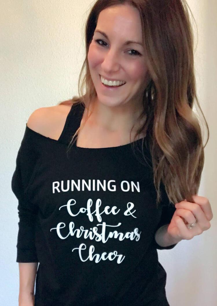 Hoodies & Sweatshirts Running On Coffee & Christmas Cheer Sweatshirt - Black. Size: S,M,L,XL фото