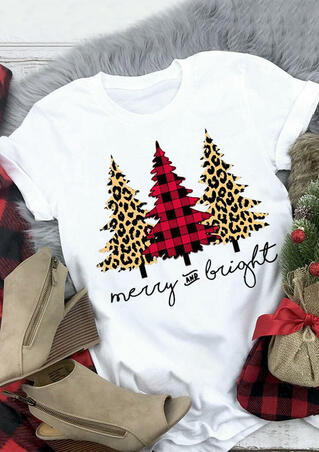 Leopard Printed Plaid Christmas Trees Merry And Bright T-Shirt Tee - White