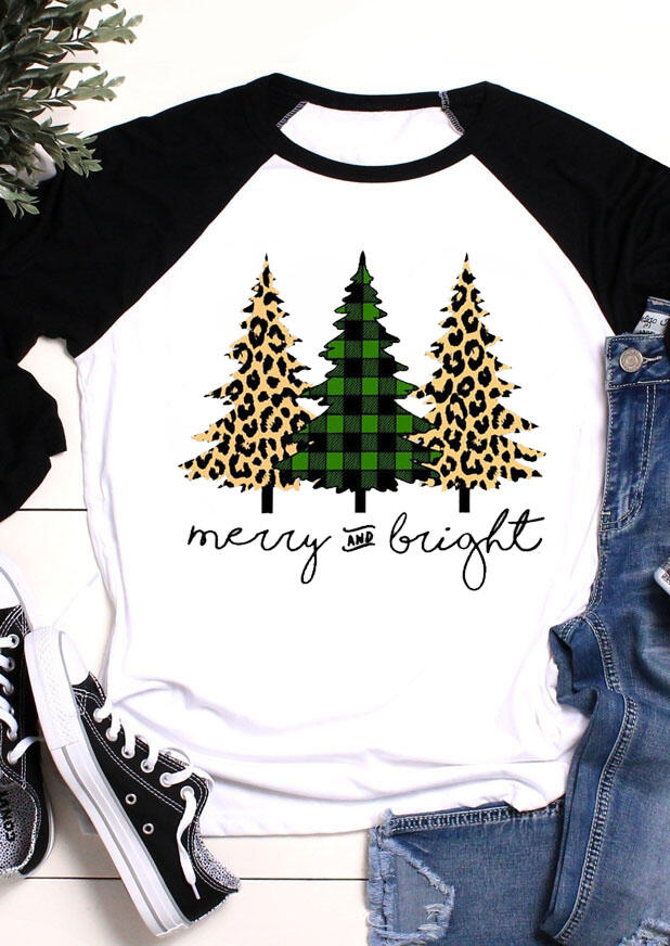 Tees T-shirts Plaid Leopard Printed Christmas Tree Merry And Bright T-Shirt Tee - White. Size: S фото