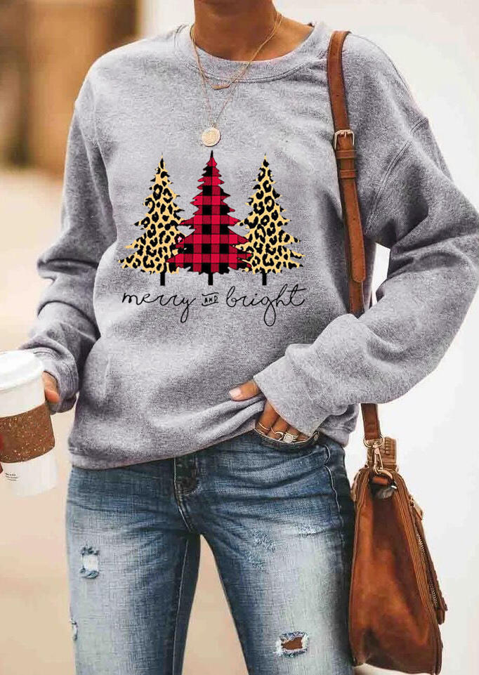 Plaid Leopard Printed Merry And Bright Sweatshirt without Necklace – Gray