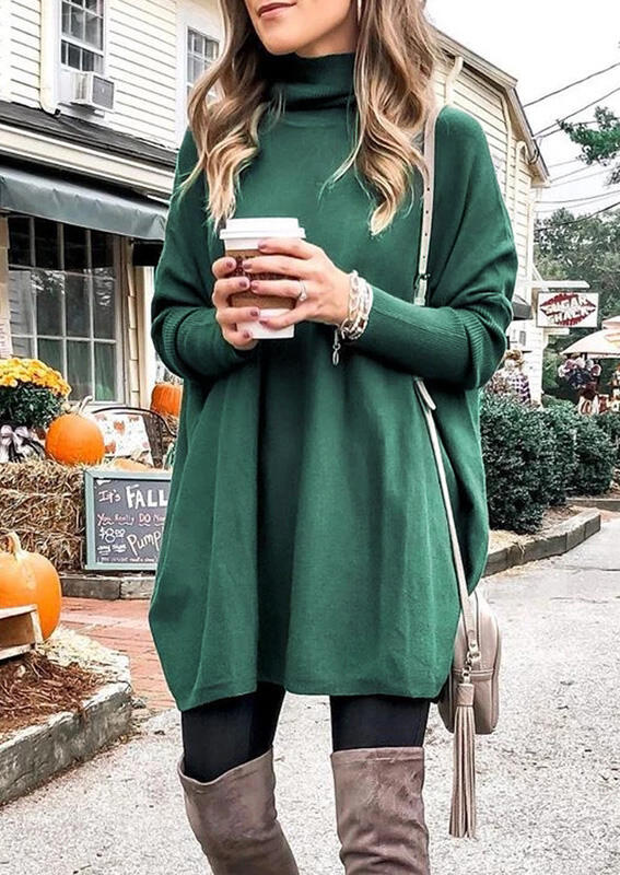 Green Knitted Turtleneck Long Sleeves Loose Mini Dress for Women in Green. Size: S,M,L,XL фото