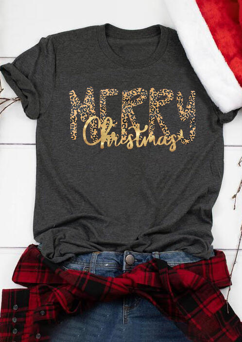 Leopard Printed Merry Christmas T-Shirt Tee – Dark Grey