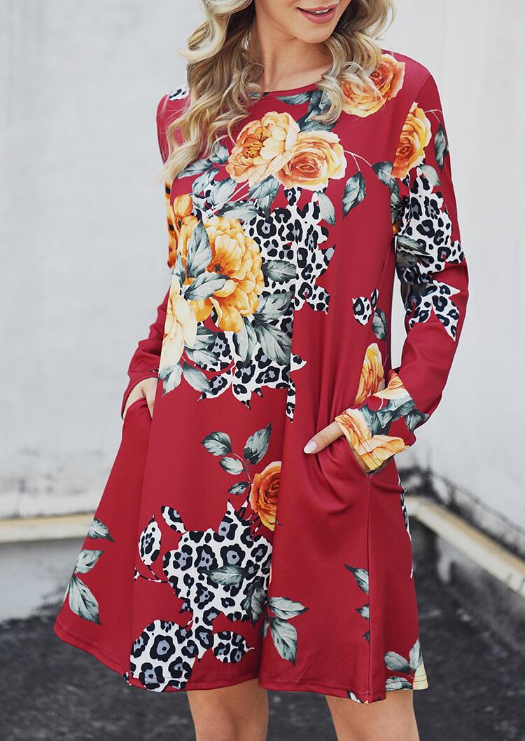 Floral Leopard Printed Pocket Mini Dress – Red