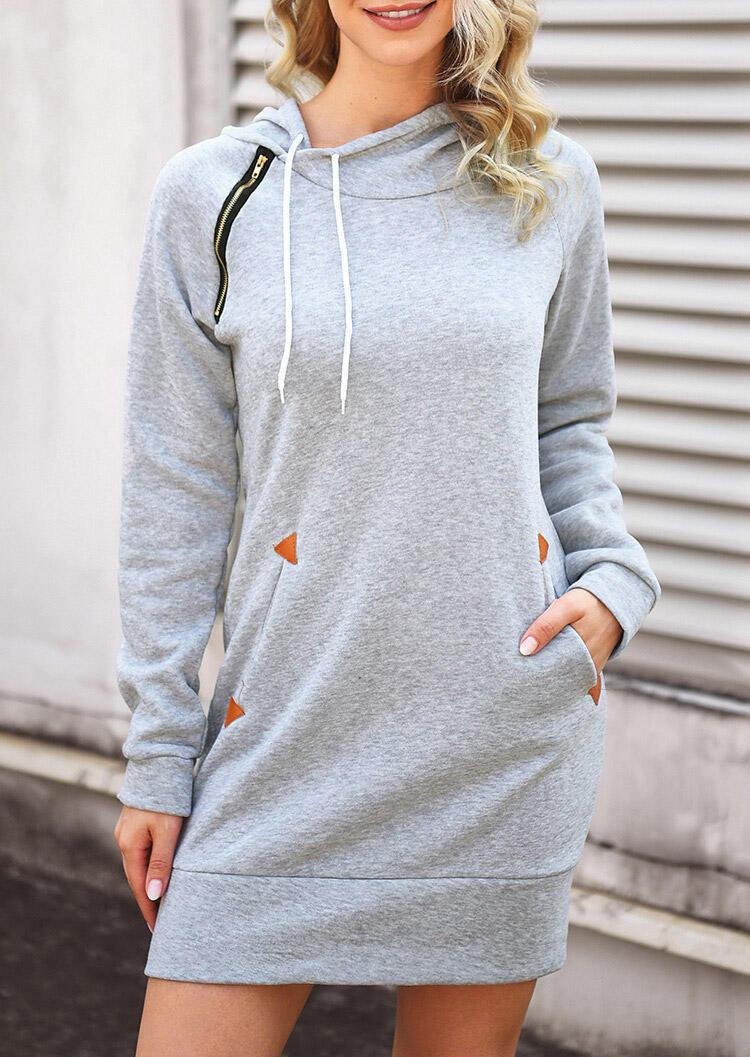 Solid Drawstring Pocket Zipper Hooded Mini Dress – Light Grey