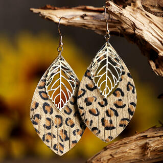 Leopard Printed Leaf Leather Earrings