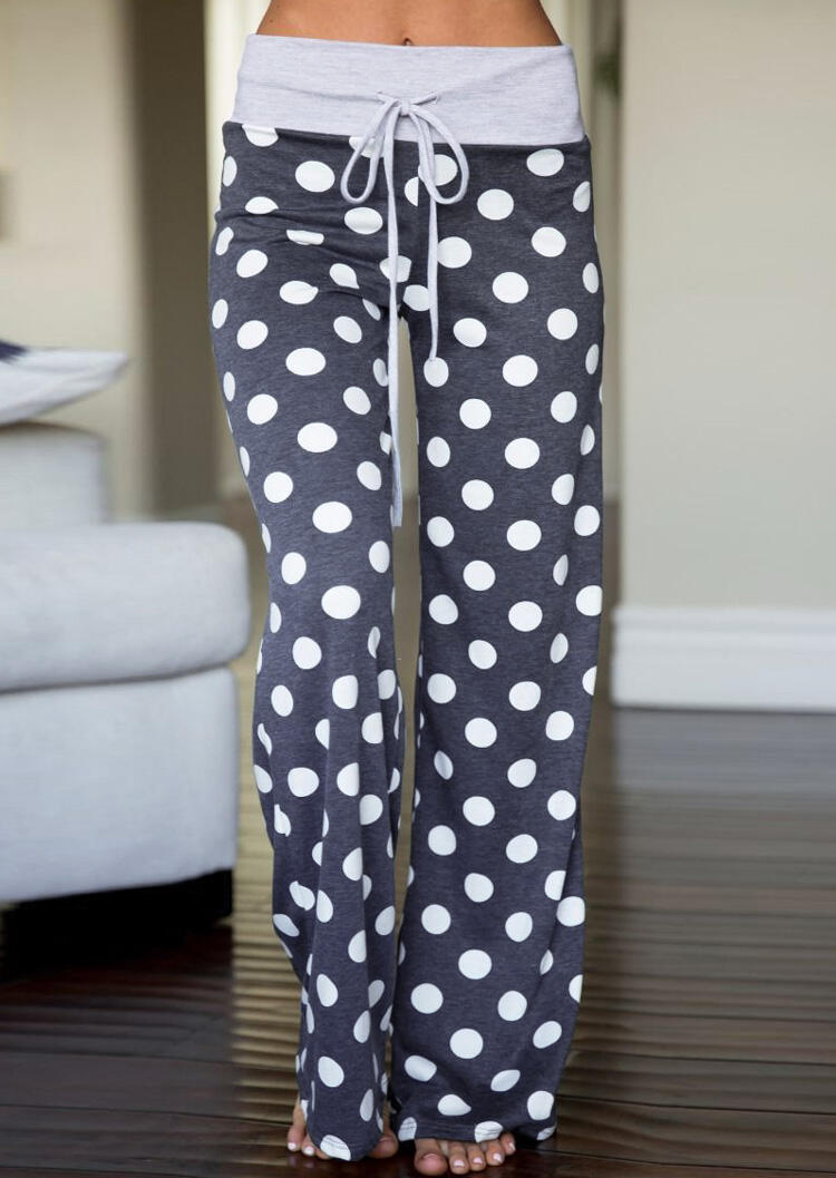Polka Dot Drawstring Wide Leg Pants – Dark Grey