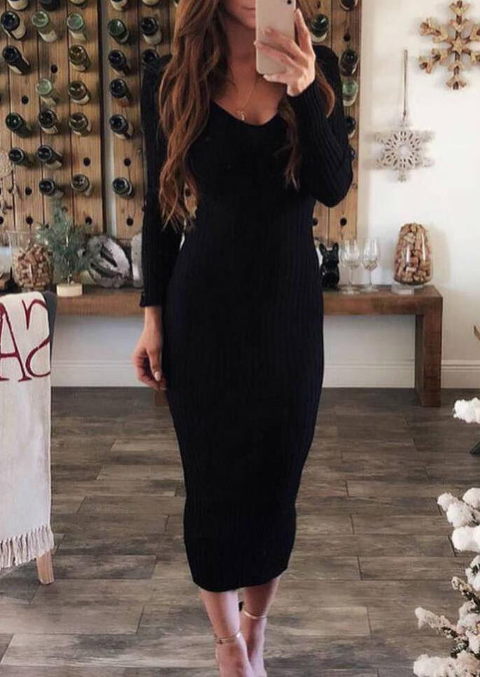 Solid Long Sleeve Bodycon Dress without Necklace – Black