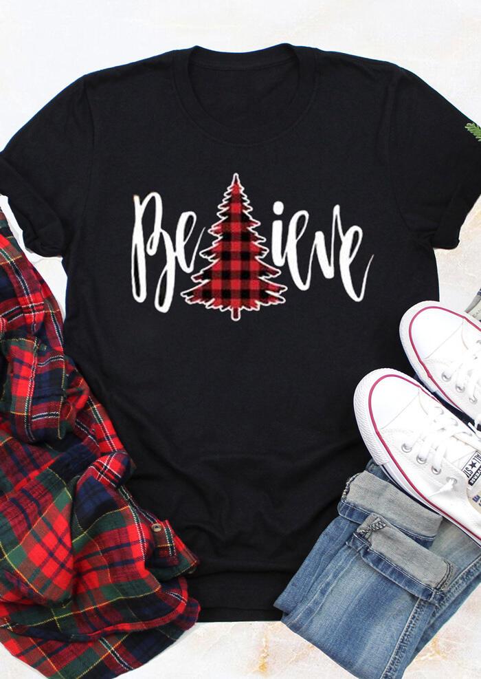 Plaid Printed Believe T-Shirt Tee – Black