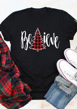Plaid Printed Believe T-Shirt Tee - Black